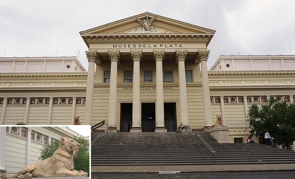 Collage de photos : Entrée principale du Museo de La Plata. Plan rapproché d'une sculpture Smilodon.