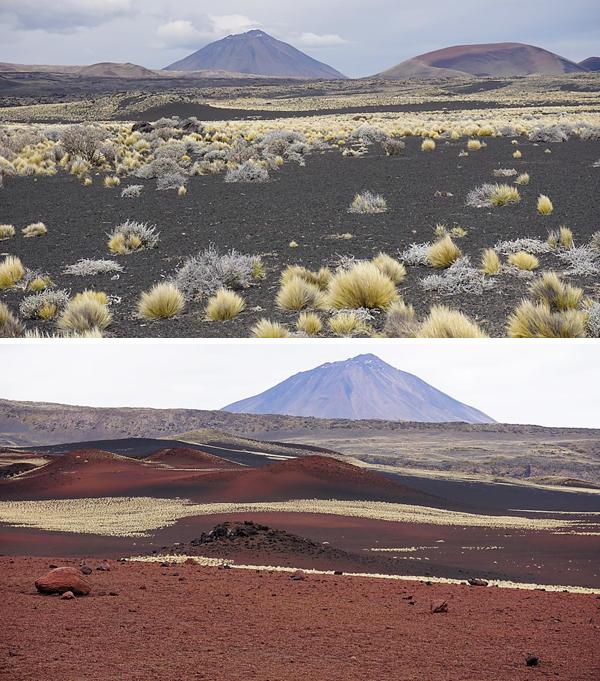 Collage de photos : Deux paysages de plaines volcaniques.