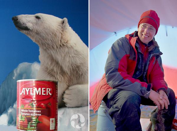 Collage de photos : Une conserve de tomates devant une murale d'ours blanc. Natalia Rybczynski assise dans une tente à côté d'une radio satellite.
