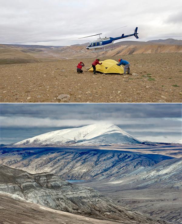 Collage de photos : Trois personnes tenant une tente pendant d'un hélicoptère décolle à proximité. Une montagne enneigée.