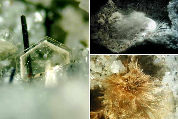 Collage : des spécimens d'arisite, de makatite et de tuperssuatsiaite.