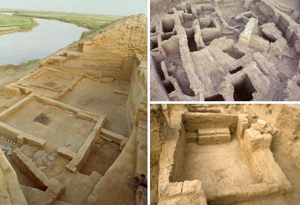 Collage de photos : Trois images de vestiges des civilisations anciennes.