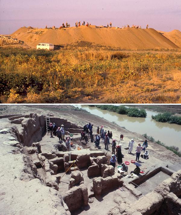 Collage de photos : Plan large de deux sites archéologiques.