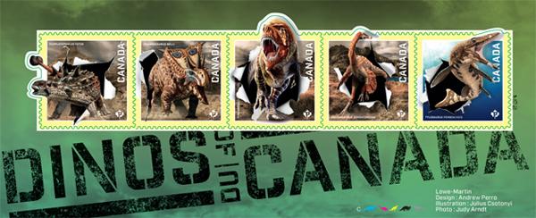 Photos de cinq timbres des Dinos du Canada