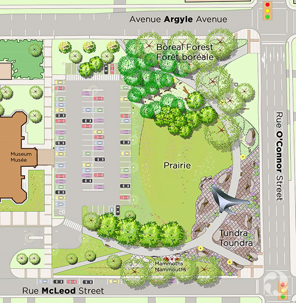 Carte illustrant les zones des jardins.