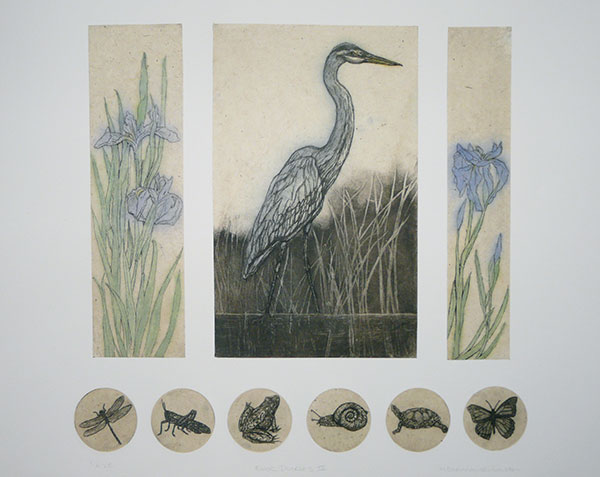 Illustration: A heron, flowers and insects.