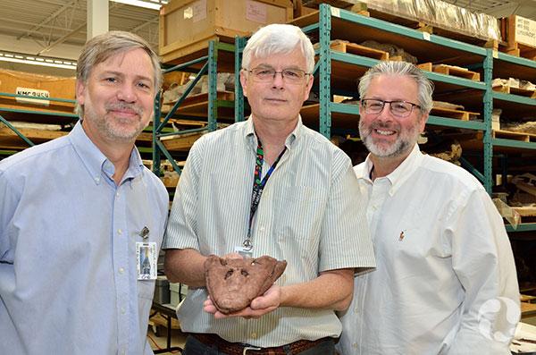 Kieran Shepherd tient le crâne du fossile Tiktaalik. À ses côtés : les scientifiques Ted Daeschler (à gauche) et Neil Shubin.