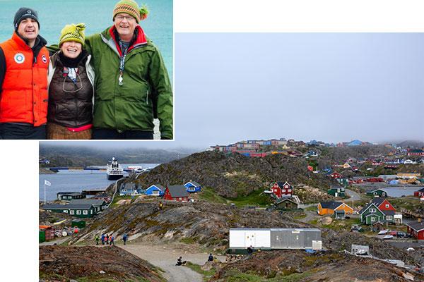 Collage : Trois personnes. Village aux maisons multicolores.