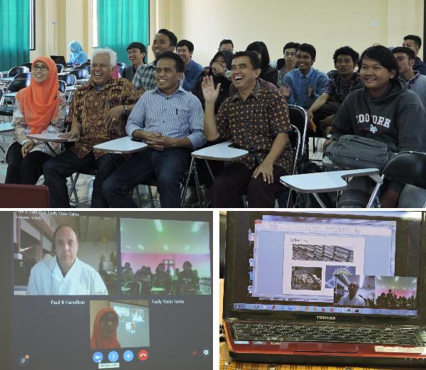 Collage : des adultes assis en rangées, des images sur un écran, un ordinateur sur une table.