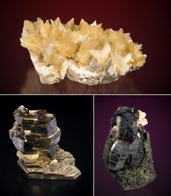 Collage de spécimens de minéraux : muscovite (collection #MCNCM56667) phlogopite (MCNCM 30318), annite (MCNCM30318).