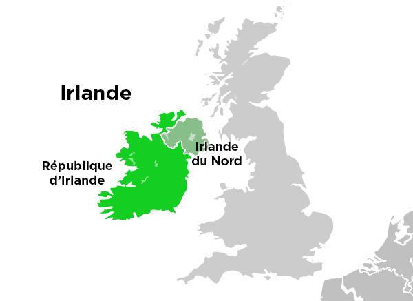 Carte de l'île d'Irlande.