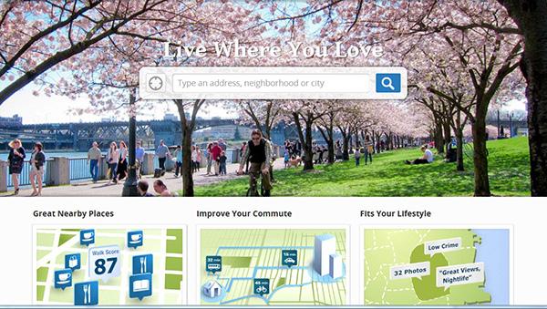Vue de la page Web principale de walkscore.com