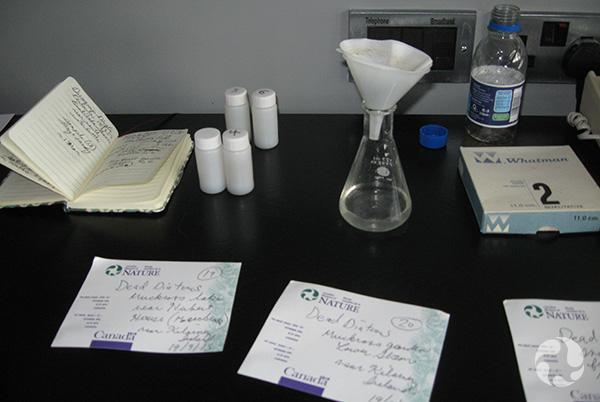 Un bécher surmonté d'un entonnoir avec filtre, des fioles et des notes manuscrites sur une table.