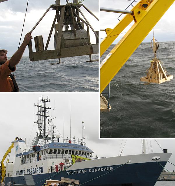 Collage de trois photos: un homme sur le pont d'un navire dirige un échantillonneur suspendu à un treuil; un échantillonneur suspendu au-dessus de l'eau; un navire à quai.