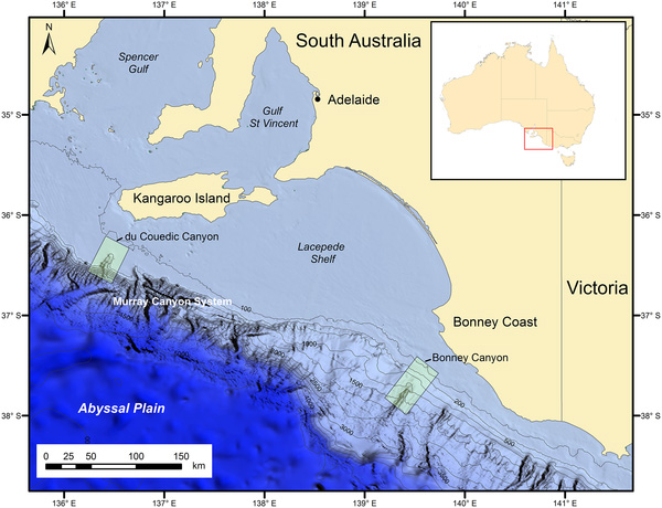 Carte bathymétrique où deux canyons sont délimités. En médaillon, une carte de l'Australie où une région au sud est délimitée.