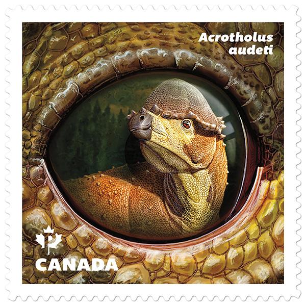 Le timbre représentant Acrotholus audeti.