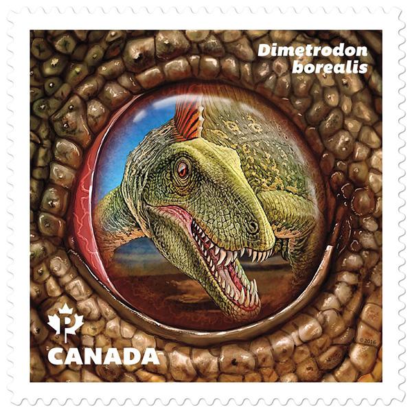 Le timbre représentant Dimetrodon borealis