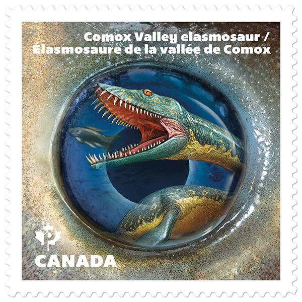 Le timbre représentant l'élasmosaure.