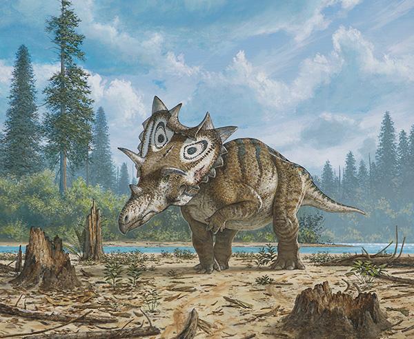Illustration d'un dinosaure marchant sur une plaine, une patte relevée.