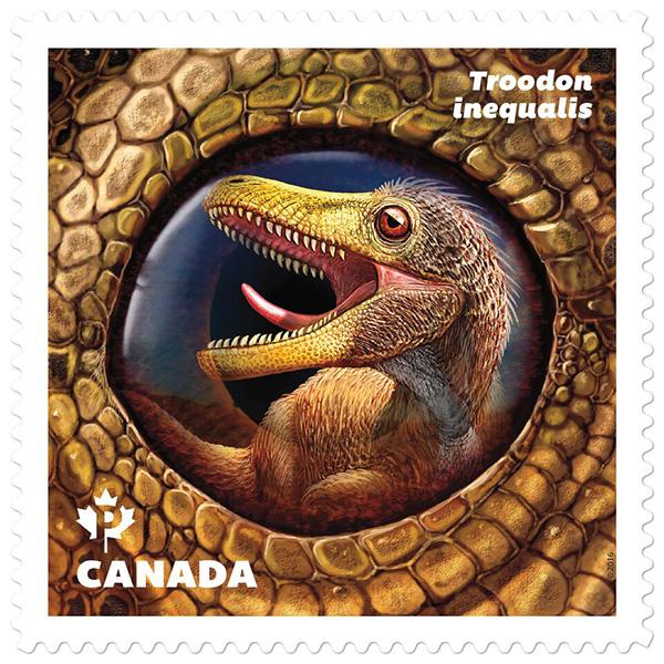 Le timbre représentant Troodon inequalis.