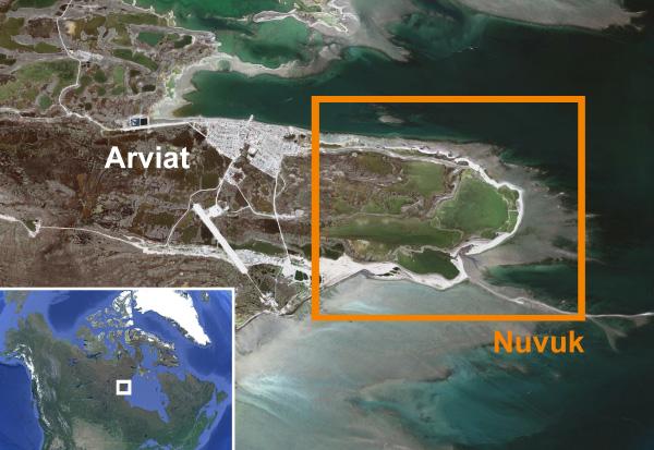 Deux cartes. Une de l'Arctique et l'autre de la collectivité d'Arviat.