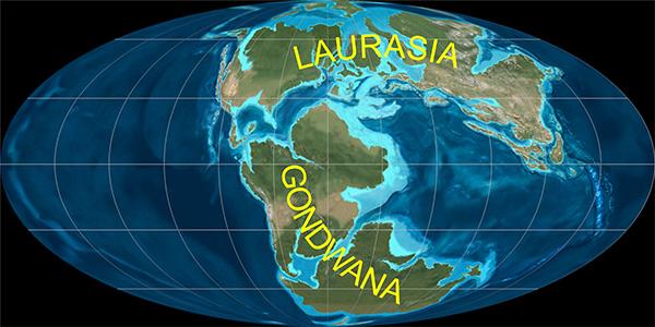 Illustration de la Terre présentant les continents rapprochés l'un de l'autre.