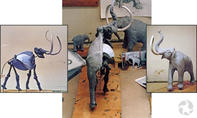 Trois photos illustrant les étapes de fabrication d'un modèle de mammouth.