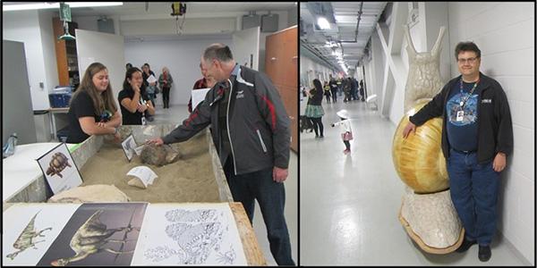Collage: Un visiteur touchant un fossile; un homme à côté d'un modèle d'escargot géant.