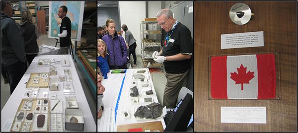 Collage: outils préhistoriques, météorites et une roche lunaire.