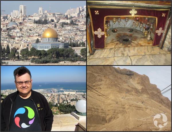 Collage: vue de Jérusalem; intérieur de l'église de la Nativité, un homme sur une terrasse surplombant une ville; une forteresse sur une montagne.