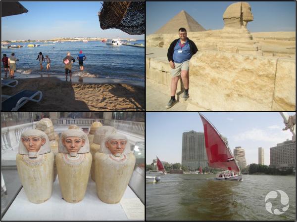 Collage: une plage; un homme devant le Sphinx et une pyramide; des urnes sculptées; des bateaux sur l'eau.