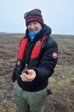 , la chercheuse Lianna Teeter tient un spécimen d'une espèce apparentée faisant aussi partie du genre Braya.