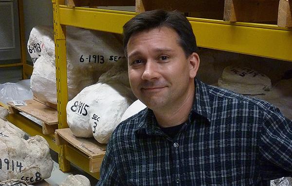 Un homme devant des fossiles de dinosaure dans leur coque de plâtre.