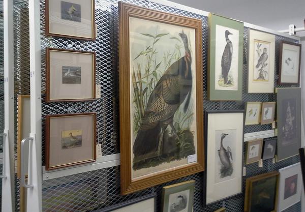 Des peintures et des photographies suspendues à un panneau dans une collection d'art.
