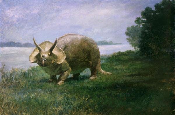 Peinture d'un dinosaure à cornes.