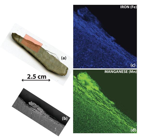 Un collage de quatre images montrant des échantillons de roches décrites dans la légende.
