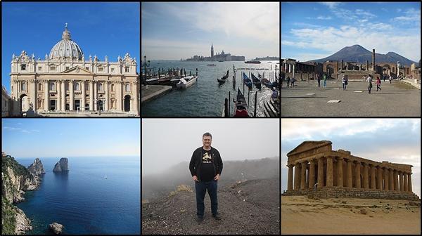 Un collage de divers sites en Italie et de l'auteur.