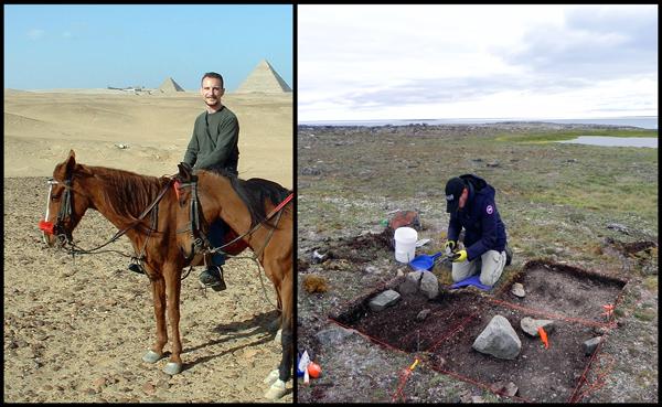 Deux photos d'un archéologue sur le terrain en Égypte et au Nunavut.