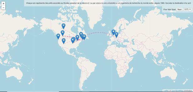 Carte interactive montrant l'emplacement des établissements qui ont emprunté ou prêté des spécimens au Musée canadien de la nature, à des fins de recherche ou d'exposition. Les données, qui vont de 1960 à 2020, sont ventilées par décennie pour éviter un affichage trop touffu.