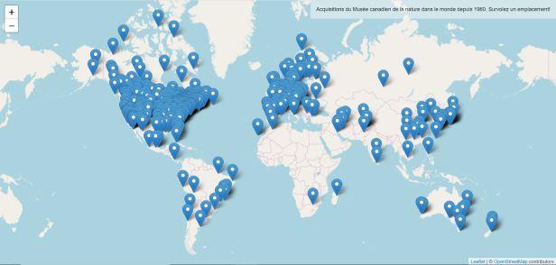 Carte interactive montrant l'emplacement des établissements qui ont collaboré au développement des collections du Musée.