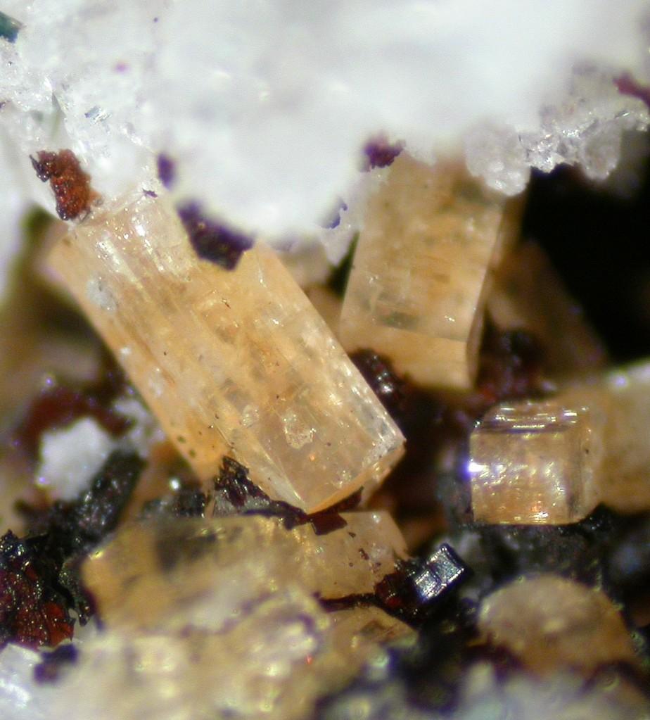 Macrophoto de plusieurs cristaux prismatiques jaunes de haineaultite.